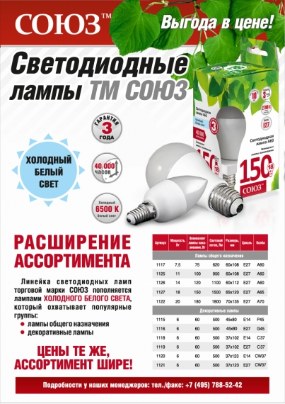 Светодиодные лампы ТМ СОЮЗ